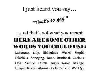 """I just heard you say """"That's so Gay"""" poster - Freebie!"""