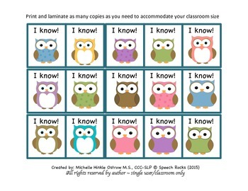 I know! Class Participation Cards {Freebie}