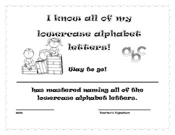 I know my letters and sounds student award certificates