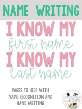 I know my name practice pages EDITABLE