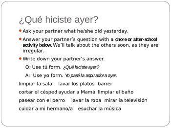 I know what you did last summer (preterit Spanish lesson)