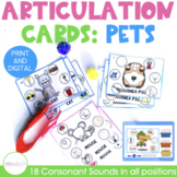 Pets Themed Articulation Cards for Speech Therapy