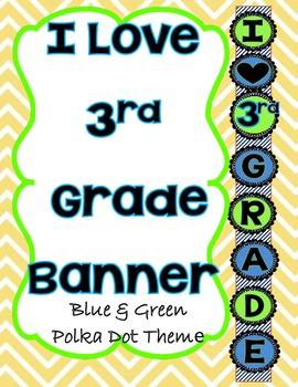 I love 3rd Grade Blanner Blue and Green Polka Dot Theme