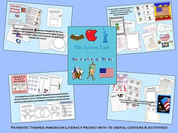 I love America! Patriotic American Literacy Centers and Activities Packet