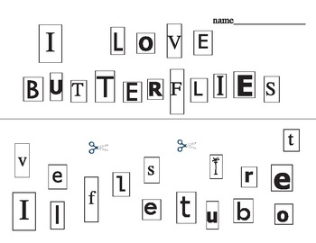 """""""I love Butterflies (and Gardening)"""" cutting activity"""