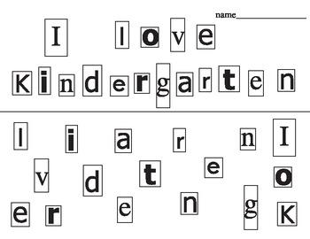 """I love Kindergarten"" first day cutting activity"