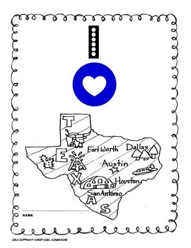 I LOVE TEXAS - COLORING MAP