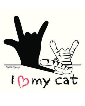 I love my Cat, ASL Animal & Free ASL Coloring Book