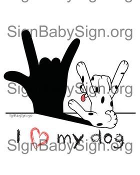 I love my dog, ASL, Valentine idea, I love you & Free Book