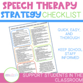 Preschool Speech Therapy Strategy Checklist for the Classroom