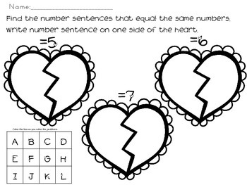 I love to Add-Finding 2 Ways to Make the Same Number Sums 5-10-recording sheet