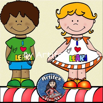"""I love to learn"" kids clip art -Color and B&W."