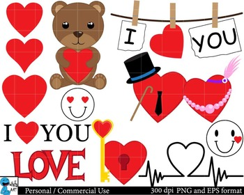 I love you Digital Clip Art Graphics 14 images cod84