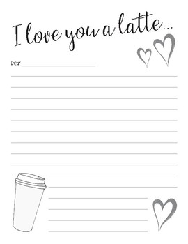 I love you a latte writing paper