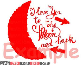 I love you to the Moon and back Silhouette SVG Cutting clipart wedding -29sv