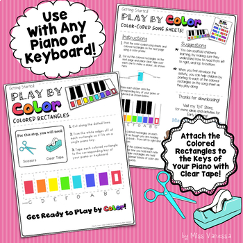 I'm A Little Teapot Color-Coded Piano Song Sheet for Kids ~ Play by Color!