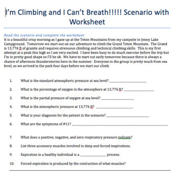 I'm Climbing and I Can't Breath !! Respiratory System Scenario and Worksheet