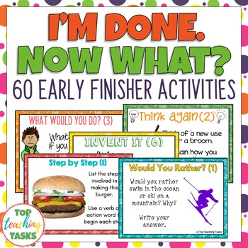 I'm Done. Now What? Early Finisher Task Cards (US and NZ Spelling)