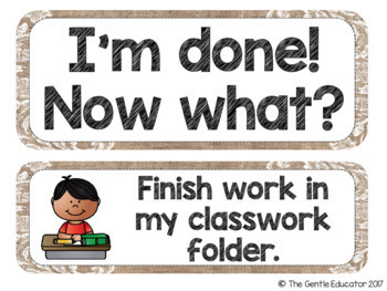 I'm Done! Now What? - Early Finishers Chart with EDITABLE versions (Burlap)