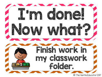 I'm Done! Now What? - Early Finishers Chart with EDITABLE versions (Chevron)