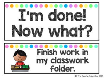 I'm Done! Now What? - Early Finishers Chart with EDITABLE versions (Neon Dots)