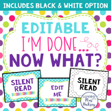 I'm Done... Now What? Editable Posters