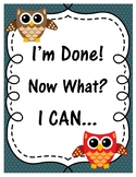 I'm Done! Now What? Owl Theme Posters