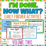 I'm Done. Now What? Volume Two - Early Finisher Task Cards