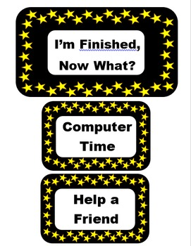 I'm Finished, Now What? - Star Themed - Editable