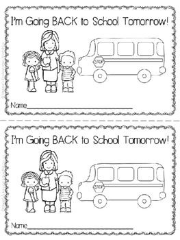 "1st Day of School Printable Reader ""I'm Going Back Tomorrow"""