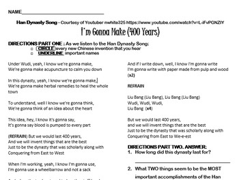 I'm Gonna Make (400) Years - Han Dynasty Song Worksheet
