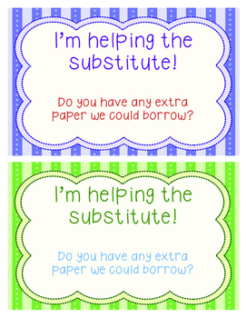 I'm Helping the Substitute Note FREEBIE
