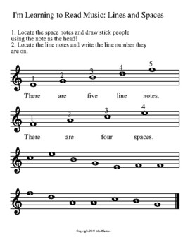 I'm Learning to Read Music: Line and Space Notes Activity Sheet