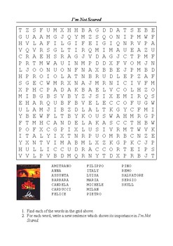 I'm Not Scared (2003 Film) - Word Search