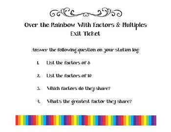 I'm Over the Rainbow for Factors & Multiples  4.OA.B.4