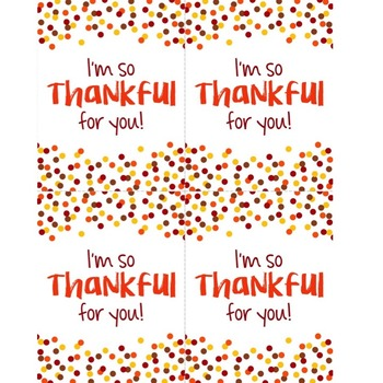 FALL FREEBIE: I'm So Thankful for You Positive Affirmation Printable