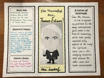 I'm Thankful For... {A Historical Figures Activity}