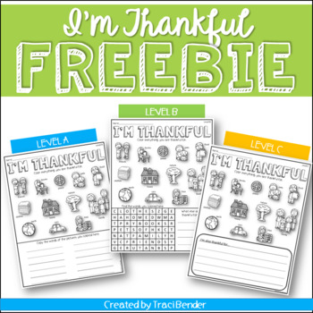 I'm Thankful Printables I Differentiated I FREE