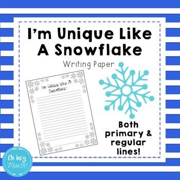 I'm Unique Like A Snowflake Writing Activity