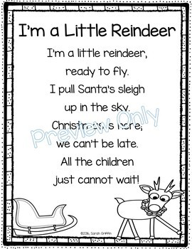 I M A Little Reindeer Christmas Poem For Kids By Little