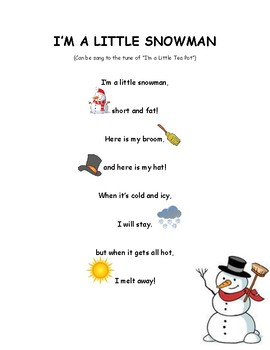 I M A Little Snowman Poem Reading Passage By Jocelyn
