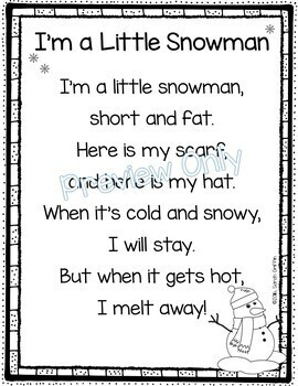 image relating to Chubby Little Snowman Poem Printable referred to as Im a Minimal Snowman - Wintertime Poem for Little ones