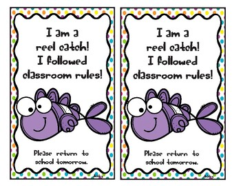 I'm a reel catch! I followed classroom rules. Fish Take home Card