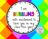 I'm bubbling with excitement gift tag