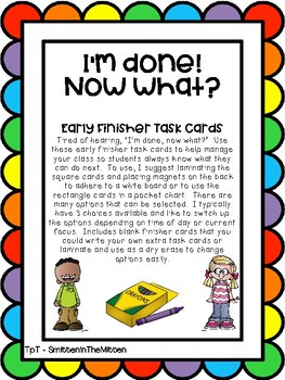 I'm done! Now What? Early finisher task cards rainbow