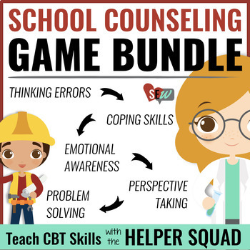 Bundle of 3 CBT Games for School Counseling from the Helper Squad