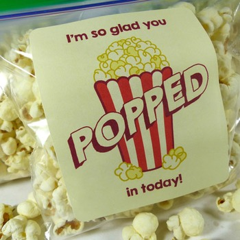 I'm so glad you popped in today! - Popcorn Bag Labels for open house!