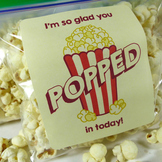 I'm so glad you popped in today! - Movie Theme Popcorn Bag Labels - Open House