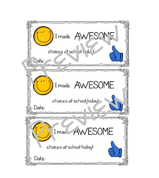 I made awesome choices reward slip