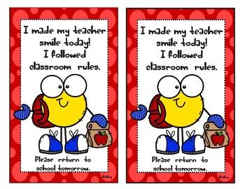 I made my teacher smile today! I followed classroom rules Take home Card
